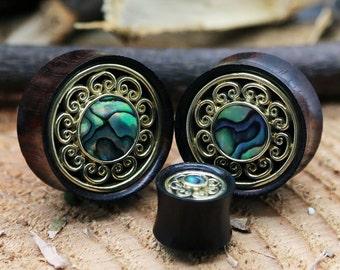 Brass Abalone Concave Plug