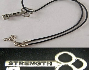 """Strength Mini Key Necklace with 18"""" - 19 1/2"""" Adjustable Black Cord"""
