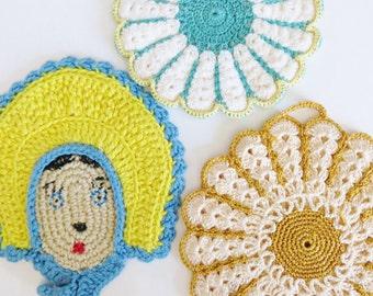 Vintage Mid Century Crochet Pot Holders, Set of 3 Hot Pads, Girl with Bonnet Flowers, Handmade Potholders, Retro 40s 50s Kitchen Accessories