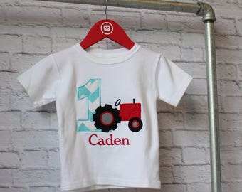 Personalized Tractor Birthday Shirt - Farm Birthday Shirt - You Choose your Fabric  - Farm Birthday Shirt - by Pocketbrand