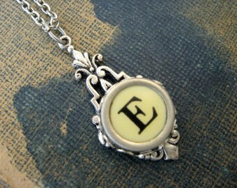 Typewriter Key Jewelry - Typewriter Necklace - Initial E - Typewriter Charm - Vintage Key