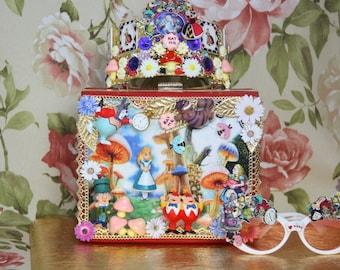 Alice In Wonderland 3D Effect Unusual Embellished Handbag