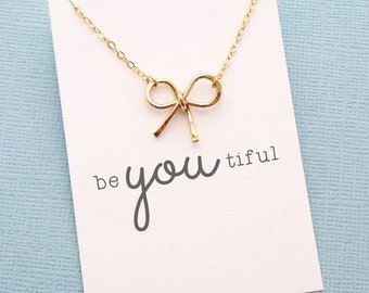Bow Necklace | Birthday Gift, Gift for Wife, Bridesmaid Necklace, Bridesmaid Gift, Be You, Be Unique, Gift for Her | Silver, Gold, Rose |X03