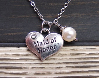 Maid of Honor necklace, sterling silver filled, Swarovski cream pearl,silver heart charm, Maid of Honor jewelry, wedding gift, birthday gift