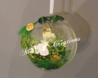 """ball home deco """"butterfly mirror"""" - dark green and lime-"""