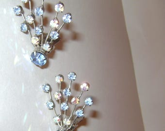 vintage 50s WEISS Baby Blue and Aurora Borealis Clear Rhinestone Fan Clip On Earrings - Prong set - Silver plate