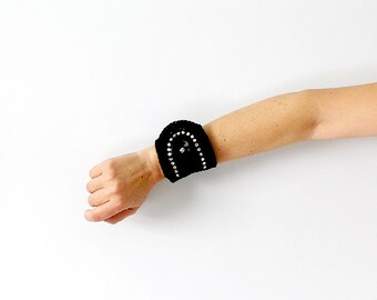 Bracelet Cuff Rhinestone  Black Bracelet Wrist Cuff  Crochet Jewelry