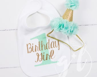 First Birthday Bib & Party Hat, Mint and Gold Princess Hat, First Birthday Set
