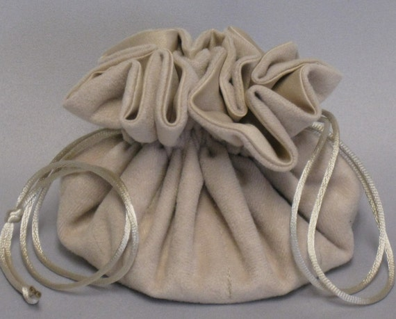 Jewelry Travel Tote---Drawstring Organizer Pouch---Beige Soft Suedecloth---Regular Size