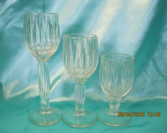 Vintage set of 3 Candle holders Glass. used