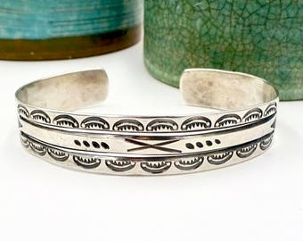 Vintage NAVAJO STERLING CUFF Sterling Silver Whirling Log Peace Symbol Arrows Stamped Patterns Cuff Bracelet Sz. 7""