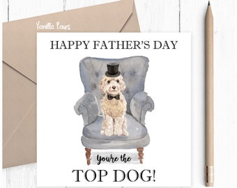 Cockapoo Father's Day Card, Father's Day, Cockapoo Greeting Card, Dog Lover Gift, Cockapoo Lover Card, Cockapoo Champagne