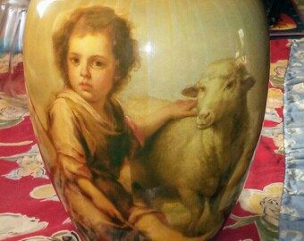 Vintage Child Shepherd & Lamb Picture Vase
