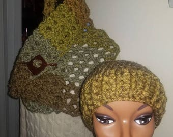 Crochet Chunky Over-sized Scarf with matching hat - Wrap Chunky Crochet Cowl, Over-sized Neck Wrap Scarf - 65.00