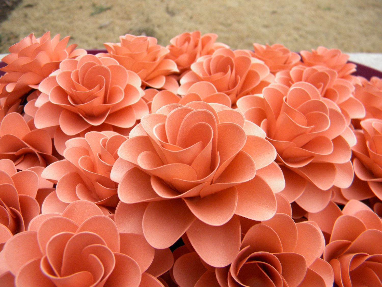 Paper flowers light coral or salmon color flowers for zoom mightylinksfo