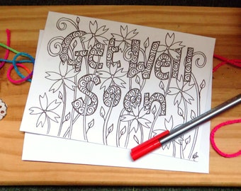 Get Well Card, Hand Drawn Floral Card, Ink Drawing