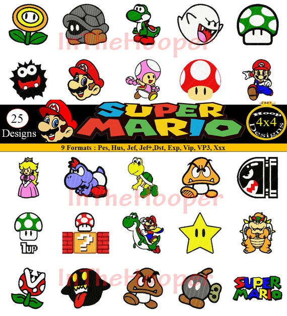 Mario Kart Embroidery Designs