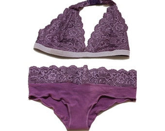 Lavender Purple Lace Halter Top Bralette / Panties, Lingerie Set / Wedding / Valentines's Day