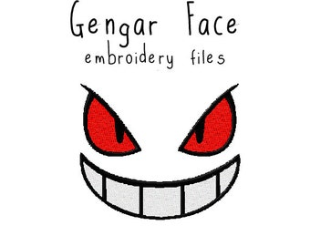 Pokemon Gengar face EMBROIDERY MACHINE FILES pattern design hus jef pes dst all formats Instant Download digital applique kawaii cute