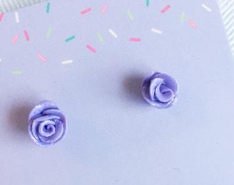 Rose studs earrings, Purple flower earrings, Pink rose earrings, aqua flower earrings, Polymer clay, nickel free, HYPOALLERGENIC POST
