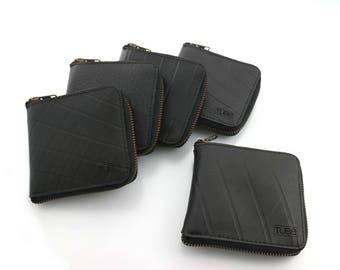 Wallet from recycled inner truck tube (Pepe), Vegan card and notes zipper wallet , recycled Bi-fold wallet made from rubber
