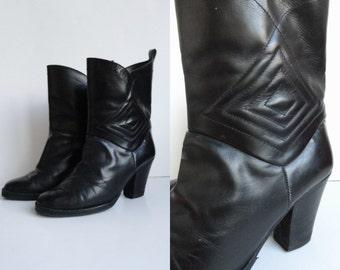 Black Vintage Leather Boots // Size 38