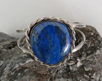 Lapis cuff bracelet, sterling silver, marked sterling, vintage, 39.1 grams