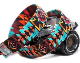 Tribal Camera Strap, Southwestern Strap - Ring of Fire