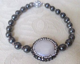 Hematite Beaded Bracelet with Pearl and CZ Center