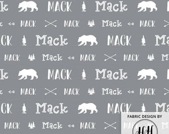 Woodland Personalized Fabric / Custom Name Fabric / Gift Ideas for Boys / Bears and Arrows / Boys Customized Print by the Yard & Fat Quarter