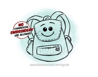 Backpack, Front Facing, School items, Digital Stamp/ KopyKake Image- F20- BACKPK