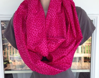 Pink Leopard Print Infinity Scarf