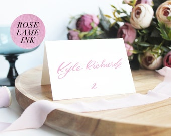 Hand Lettered Pink Ink Custom White Wedding Place Cards   White Pink Placecards Table Place Cards Calligraphy   Personalized Folded Cards