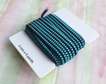 5 Yards Black Turquoise Blue Cord 4mm Stretch Elastic Rubber And Nylon Card