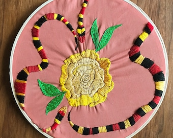 Snakes & Yellow Rose - Hand Embroidered Wall Hanging
