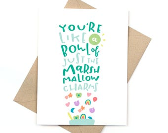 cute love card - valentine's day card - lucky charms