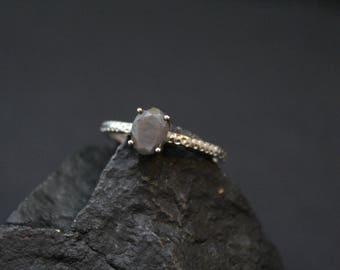 Sterling Silver Gray Gemstone Stacking Ring, Gray Gemstone Jewelry, Oval Gemstone Stacker Ring, Textured Sterling Stacking Ring