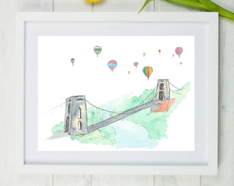 "Clifton Suspension Bridge, Bristol art, bristol, clifton, brunel, suspension bridge, brizzle, england, Bristol print, A4, 8""x 10"","