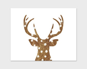 DIY Deer Art Print Antler Printable 8x10 Gold and White Polka Dots Faux Gold Foil Christmas Decor Holiday Wall Art Instant Download
