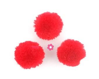 x 10 round tassel red ball (263D)