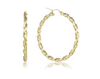 10K Yellow Gold Round Twisted Hoop Earrings 4.0mm 30-90mm - Swirl Twist