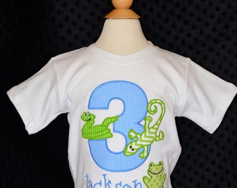 Personalized Birthday Reptiles Lizard Frog Snake Applique Shirt or Bodysuit Girl or Boy