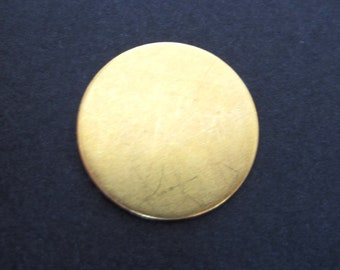 S A L E - 10 pcs - Brass 3/4  inch Round Disc 24 Gauge - for Hand Stamping Jewelry