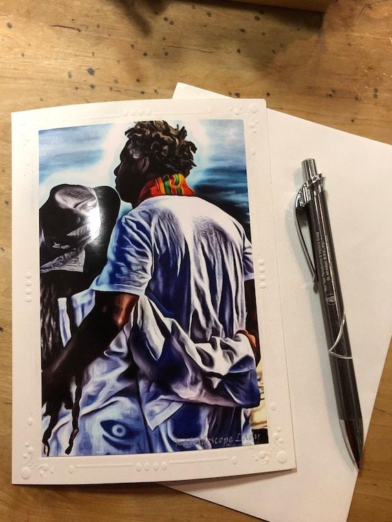 Black Love Card. Dreadlock Greeting Card. Handmade Cards. Afro Art. Locs Art. Friendship Cards. Natural Hair Art