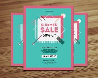 Summer Sale Flyer, Printable Flyer Template   Photoshop & Elements Template   Instant Download