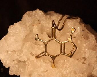 """Molecule Necklace Brass """"Caffeine"""""""