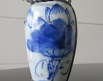 Antique Asian Miniature Blue and White Jar - date and maker unknown, Small Vase, Antique Pottery, Aged Blue and White Vessel