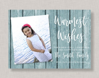 Warmest Wishes Christmas Card,Warmest Wishes Holiday Card with photos,Warmest Wishes Photo Cards,Beach Christmas Card with Photo,Nautical