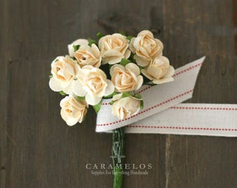 """Vintage Style Miniature Ivory Paper Roses Flowers 1/2"""""""