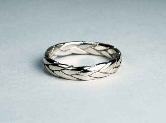10k White Gold Wide Braid Ring with Low Profile
